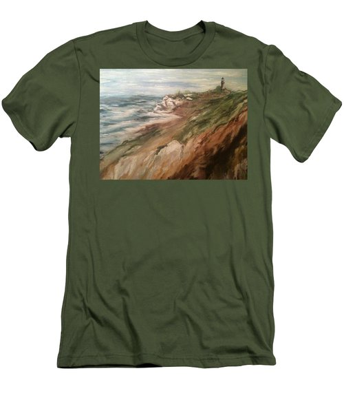 Cliff Side - Newport Men's T-Shirt (Slim Fit) by Karen  Ferrand Carroll