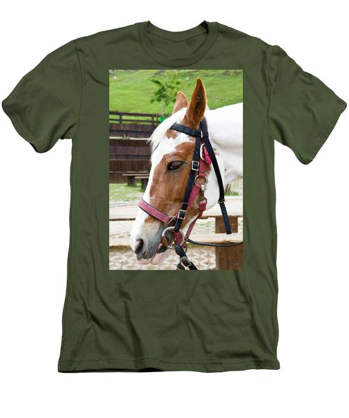 Men's T-Shirt (Slim Fit) featuring the photograph Closeup Of Horse by Yew Kwang
