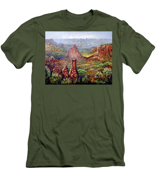 Colorado National Monument Men's T-Shirt (Slim Fit) by Lou Ann Bagnall