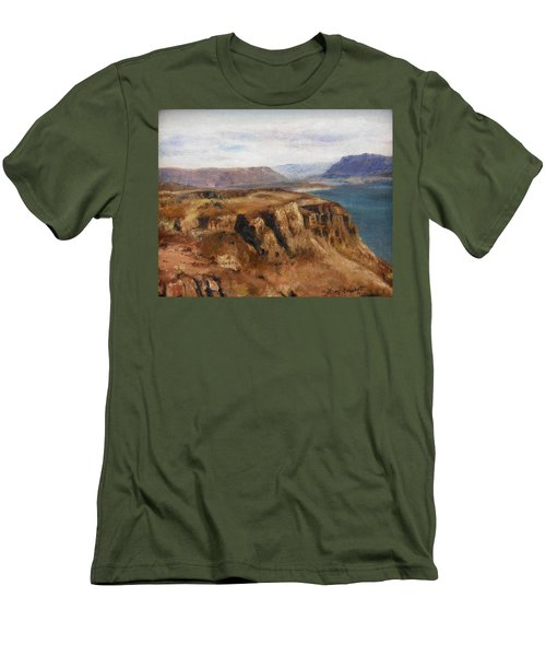 Men's T-Shirt (Slim Fit) featuring the painting Columbia River Gorge I by Lori Brackett