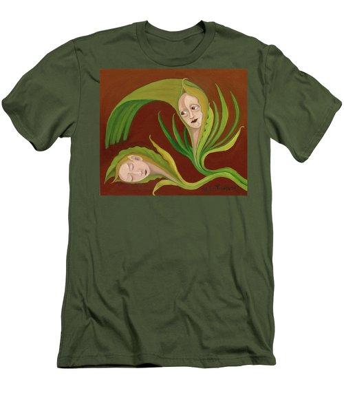 Corn Love Fantastic Realism Faces In Green Corn Leaves Sleeping Or Dead Loving Or Mourning Gree Men's T-Shirt (Slim Fit) by Rachel Hershkovitz
