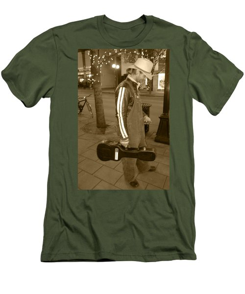 Cowboy Musician On Streets Men's T-Shirt (Slim Fit) by Kym Backland