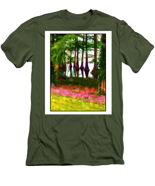 Men's T-Shirt (Slim Fit) featuring the photograph Cypress With Oxalis by Judi Bagwell