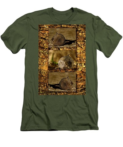 Men's T-Shirt (Slim Fit) featuring the photograph Dead Rosebud Triptych by Steve Purnell