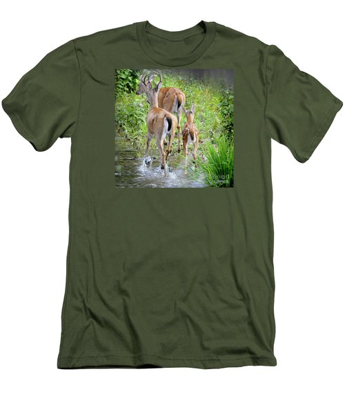 Men's T-Shirt (Slim Fit) featuring the photograph Deer Running In Stream by Nava Thompson