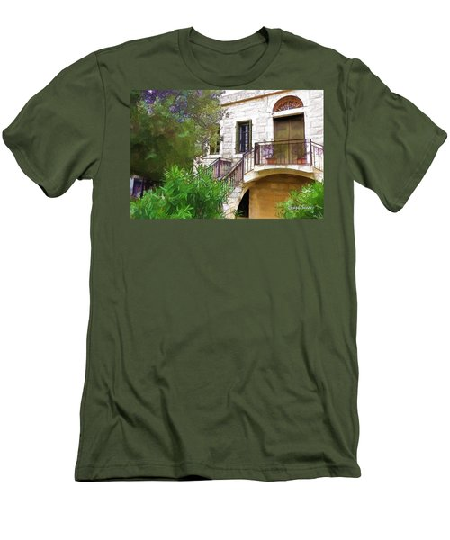 Men's T-Shirt (Athletic Fit) featuring the photograph Do-00490 Balcony Of Old House by Digital Oil