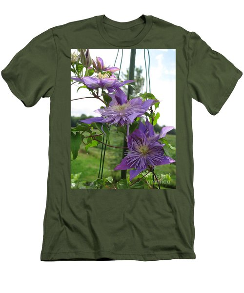 Double Clematis Named Crystal Fountain Men's T-Shirt (Slim Fit) by J McCombie