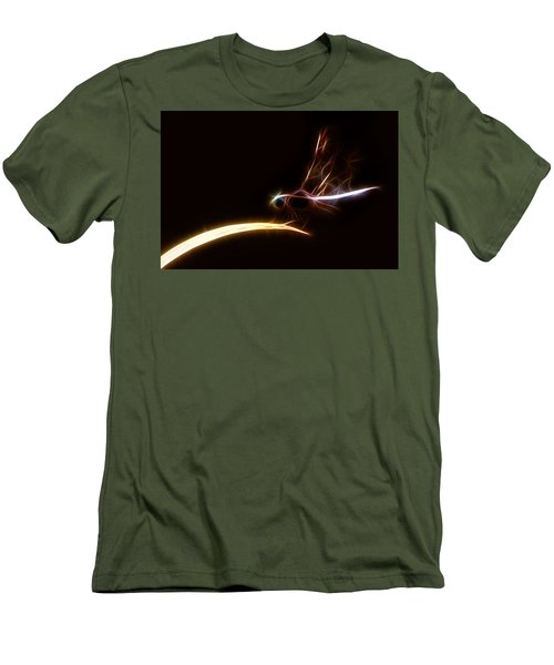 Men's T-Shirt (Slim Fit) featuring the digital art Dragonfly On Golden Blade by Lynne Jenkins