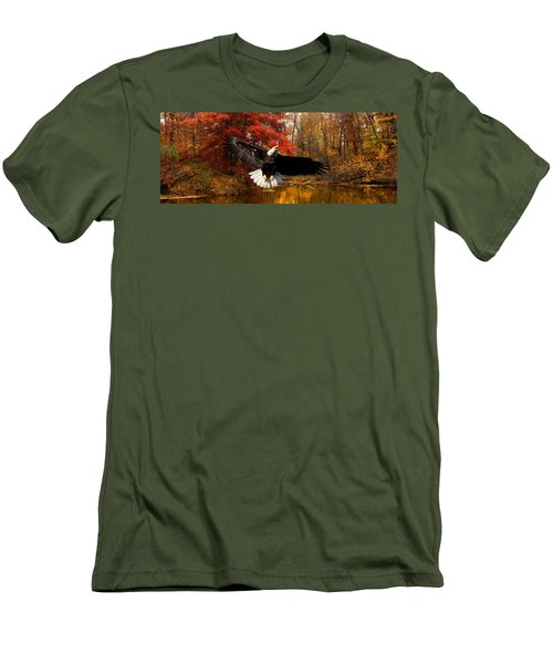 Men's T-Shirt (Slim Fit) featuring the photograph Eagle In Autumn Splendor by Randall Branham