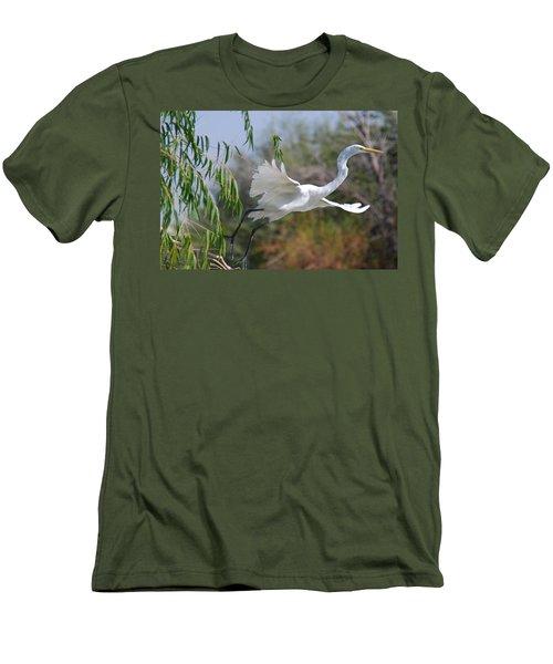 Men's T-Shirt (Slim Fit) featuring the photograph Egret's Flight by Tam Ryan
