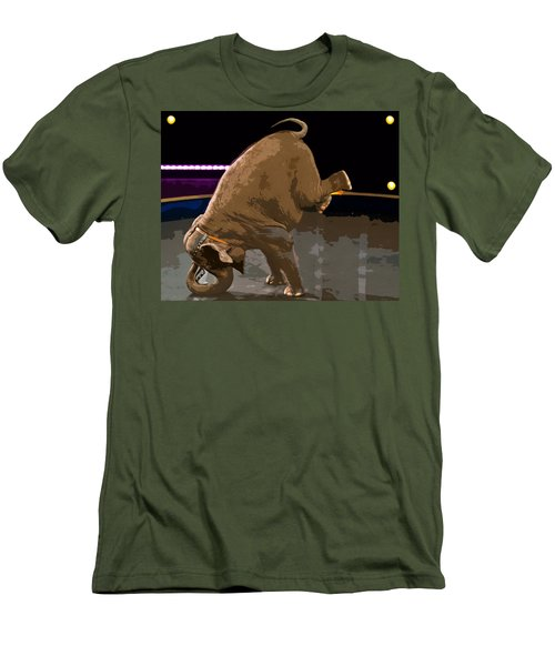 Men's T-Shirt (Slim Fit) featuring the photograph Elephant Perfomance At Circus by Susan Leggett