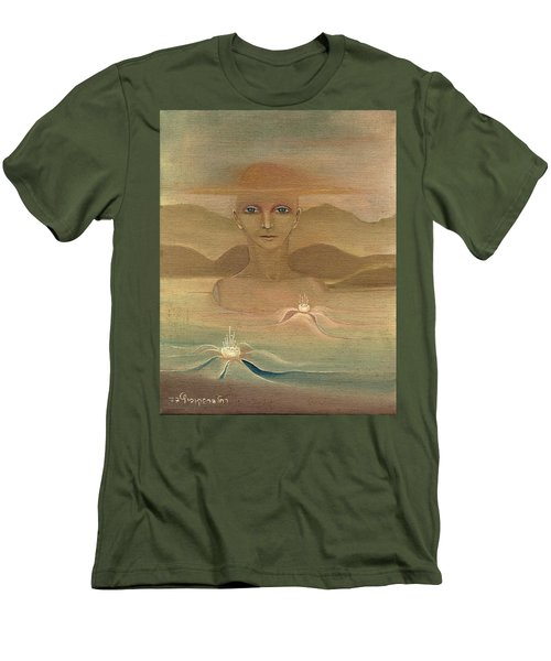 Face From Nature Desert Landscape Abstract Fantasy With Flowers Blue Eyes Yellow Cloud  In Sky  Men's T-Shirt (Slim Fit) by Rachel Hershkovitz