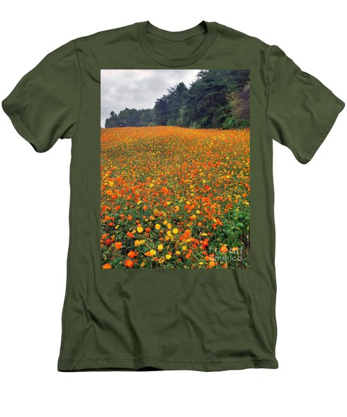 Men's T-Shirt (Slim Fit) featuring the photograph Fall Flowers by Janice Spivey