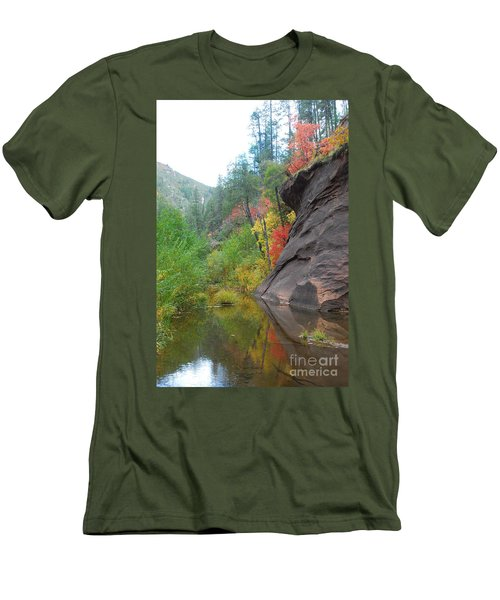 Fall Peeks From Behind The Rocks Men's T-Shirt (Athletic Fit)