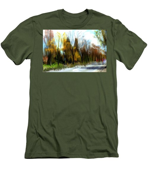 Men's T-Shirt (Slim Fit) featuring the mixed media Farmington by Terence Morrissey