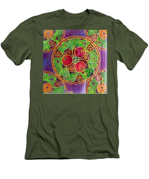 Festive Pomegranates In Gold And Vivid Colors Wall Decor In Red Green Purple Branch Leaves Flowers Men's T-Shirt (Slim Fit) by Rachel Hershkovitz