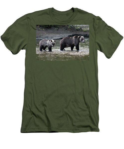 Men's T-Shirt (Slim Fit) featuring the photograph Fishing Lessons by Cathie Douglas