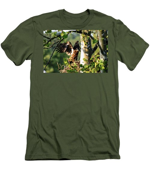 Men's T-Shirt (Slim Fit) featuring the photograph Fledgling Testing The Wind by Randall Branham