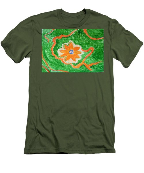 Men's T-Shirt (Slim Fit) featuring the painting Floating Flower by Sonali Gangane