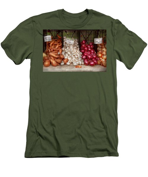 Food - Vegetable - Sweet Potatoes-garlic- And Onions - Yum  Men's T-Shirt (Slim Fit) by Mike Savad