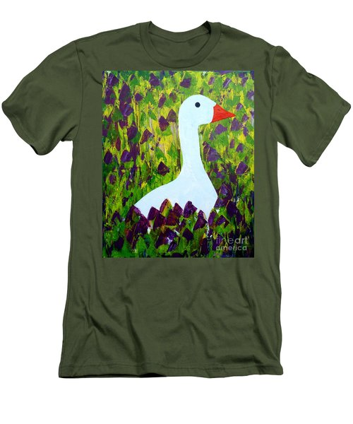 Goose Men's T-Shirt (Slim Fit) by Barbara Moignard