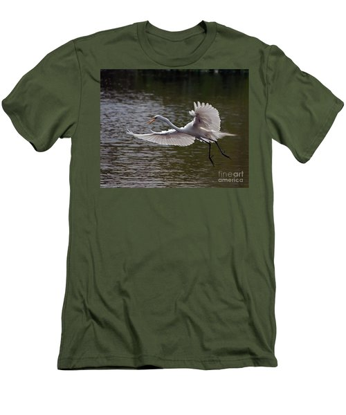 Men's T-Shirt (Slim Fit) featuring the photograph Great Egret In Flight by Art Whitton