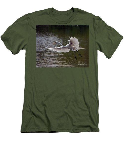 Great Egret In Flight Men's T-Shirt (Slim Fit) by Art Whitton
