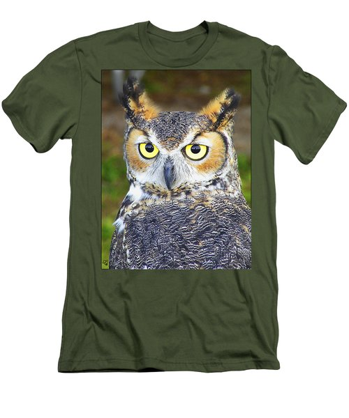 Great Horned Owl Men's T-Shirt (Slim Fit) by Barbara Middleton