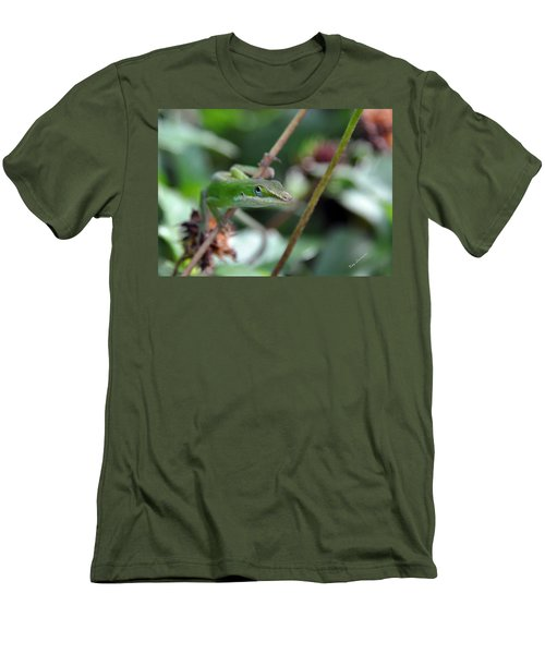 Men's T-Shirt (Slim Fit) featuring the photograph Green Anole by Kay Lovingood