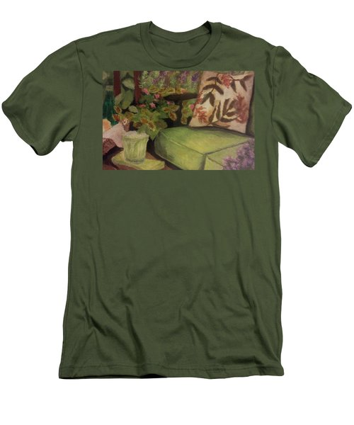Green Patio Men's T-Shirt (Slim Fit) by Christy Saunders Church
