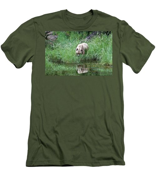 Grizzly Bear And Reflection On Prince Rupert Island Canada 2209 Men's T-Shirt (Slim Fit) by Michael Bessler