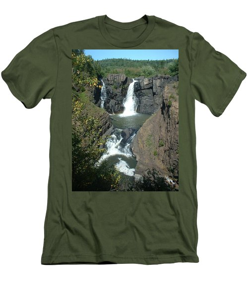 Men's T-Shirt (Slim Fit) featuring the photograph High Falls Grand Portage by Bonfire Photography