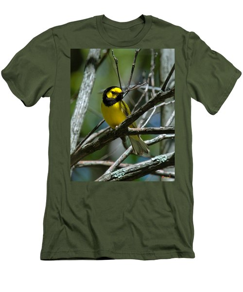 Men's T-Shirt (Slim Fit) featuring the photograph Hooded Warbler Dsb166  by Gerry Gantt