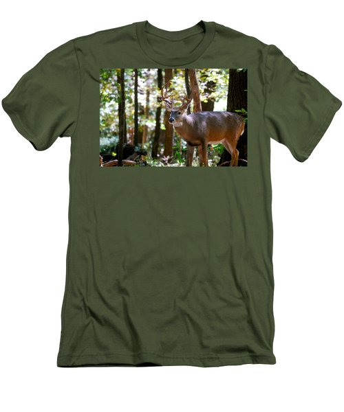 Men's T-Shirt (Slim Fit) featuring the photograph Hunters Dream 10 Point Buck by Peggy Franz