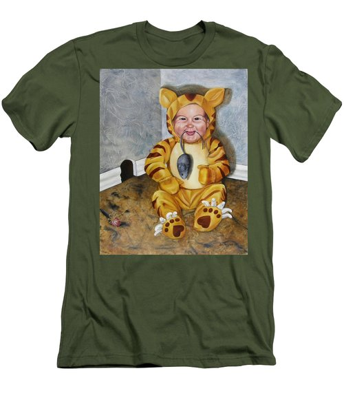 Men's T-Shirt (Slim Fit) featuring the painting James-a-cat by Lori Brackett
