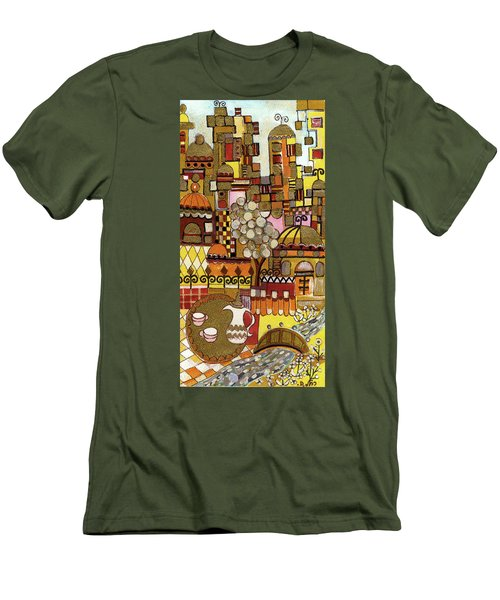 Jerusalem Alleys Tall 5  In Red Yellow Brown Orange Green And White Abstract Skyline Landscape   Men's T-Shirt (Slim Fit) by Rachel Hershkovitz