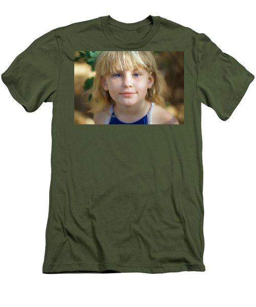Portrait Of A Young Girl Men's T-Shirt (Slim Fit) by Mark Greenberg