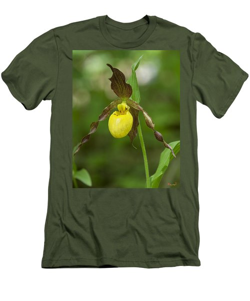 Large Yellow Lady Slipper Orchid Dspf0251 Men's T-Shirt (Slim Fit) by Gerry Gantt