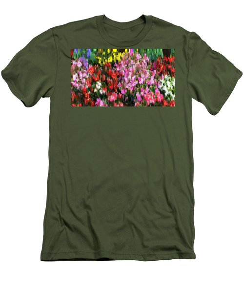 Men's T-Shirt (Slim Fit) featuring the mixed media Les Fleurs by Terence Morrissey