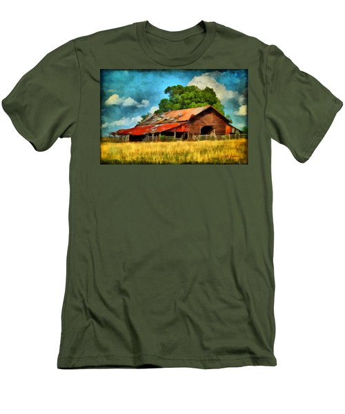 Men's T-Shirt (Slim Fit) featuring the painting Long Road Barn by Lynne Jenkins