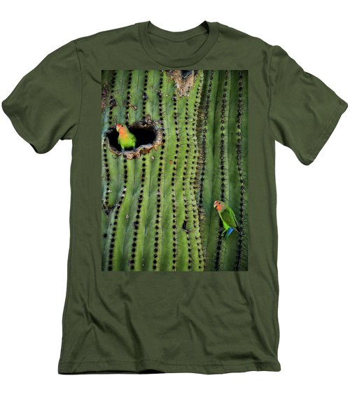 Lovebirds And The Saguaro  Men's T-Shirt (Athletic Fit)