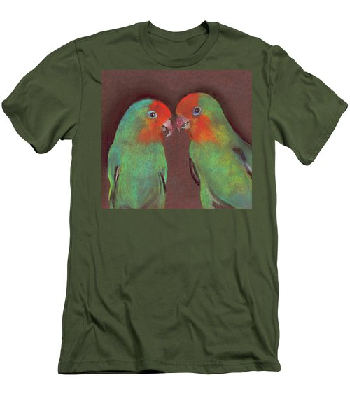 Men's T-Shirt (Slim Fit) featuring the drawing Lovebirds by Wendy McKennon