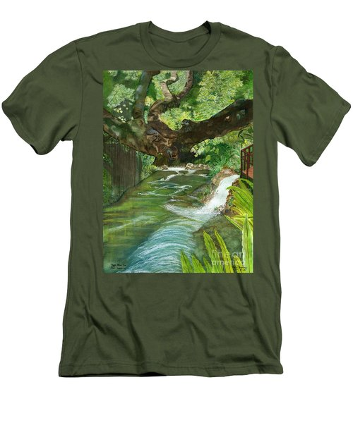 Men's T-Shirt (Slim Fit) featuring the painting Maya Ubud Tree Bali Indonesia by Melly Terpening