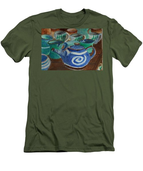 Miniature Teapots And Cups Men's T-Shirt (Slim Fit) by Christy Saunders Church