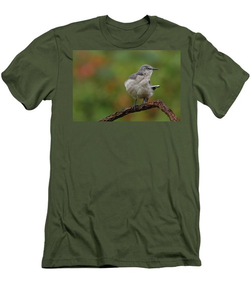 Men's T-Shirt (Slim Fit) featuring the photograph Mocking Bird Perched In The Wind by Daniel Reed