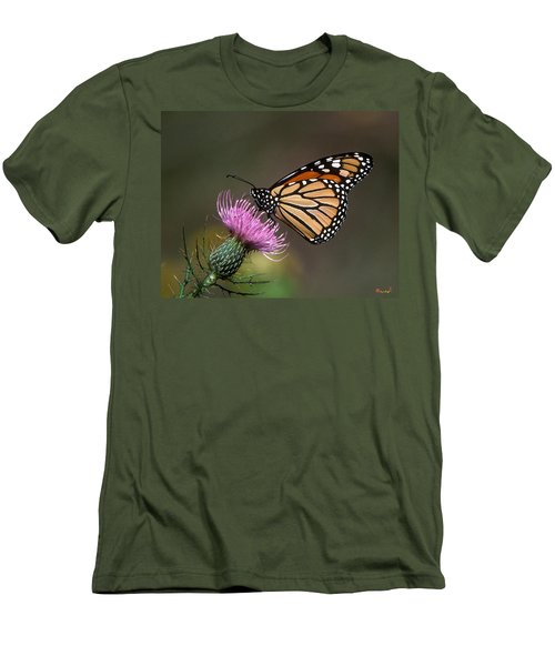Men's T-Shirt (Slim Fit) featuring the photograph Monarch Butterfly On Thistle 13a by Gerry Gantt