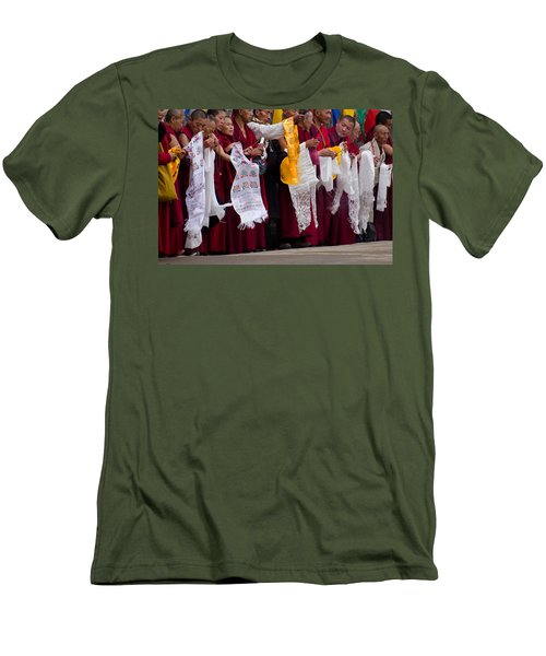 Men's T-Shirt (Slim Fit) featuring the photograph Monks Wait For The Dalai Lama by Don Schwartz