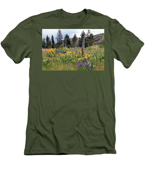 Men's T-Shirt (Slim Fit) featuring the photograph Montana Wildflowers by Athena Mckinzie