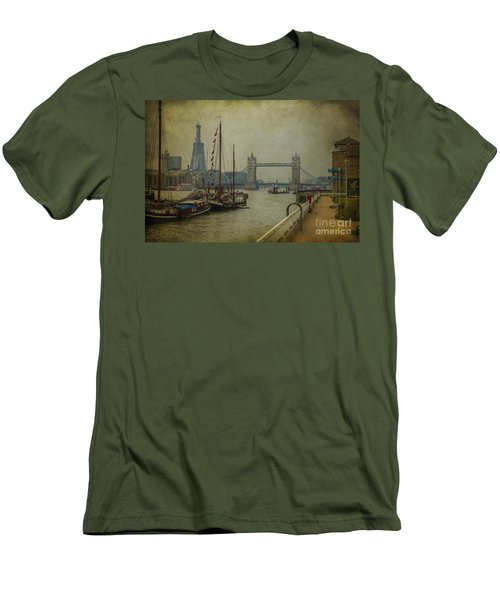 Men's T-Shirt (Slim Fit) featuring the photograph Moored Thames Barges. by Clare Bambers