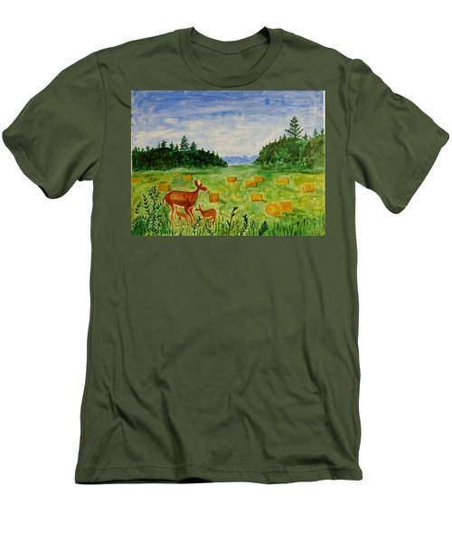 Men's T-Shirt (Slim Fit) featuring the painting Mother Deer And Kids by Sonali Gangane